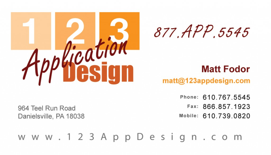 123 Application Design Business Card
