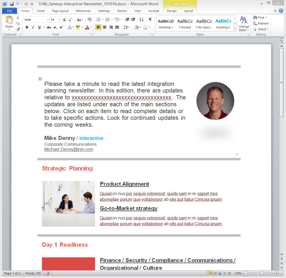 microsoft outlook template